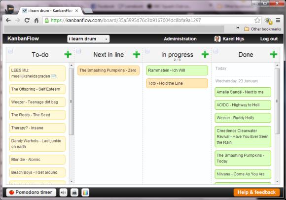 Example kanban board at kanbanflow.com