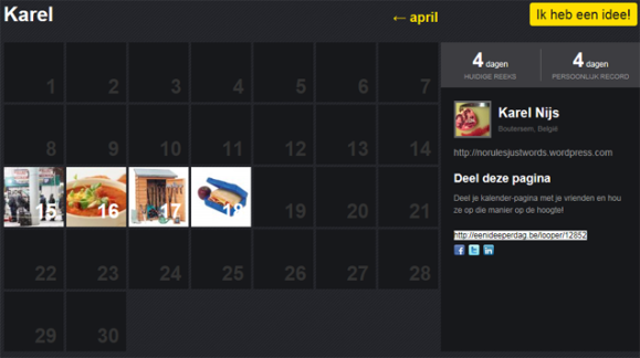One idea each day - My calendar for April